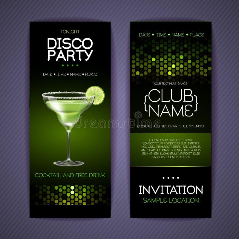 Discouitnodiging voor cocktail party Documentmalplaatje vector illustratie