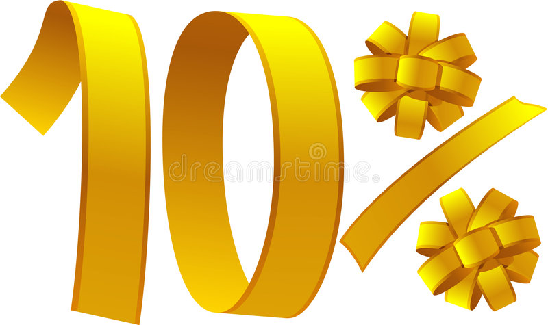 Discount - 10 percent. 10 percent of discount intertwined of ribbon vector illustration