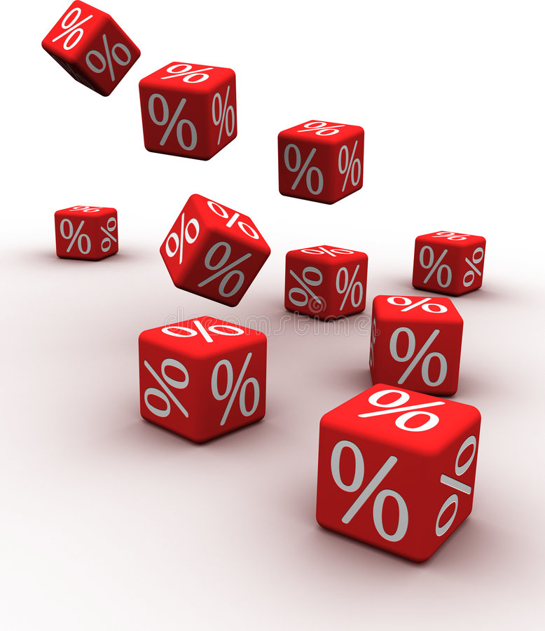 Discount. Symbols of percent on falling red cubes
