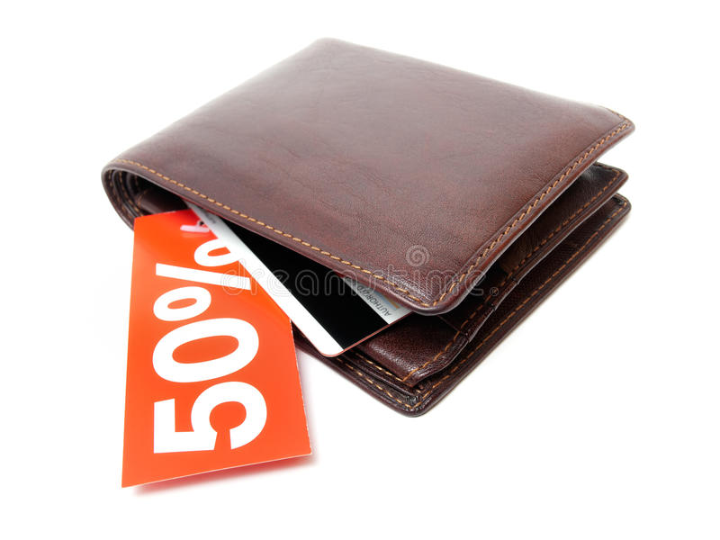 Discount. Wallet with a discount label on a white background stock image