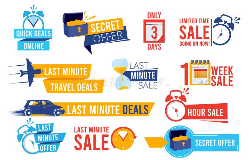 Discount badges. Advertizing promo offers last chance sales alarm and clocks best deals signs vector collection. Illustration label price, promotion discount stock illustration
