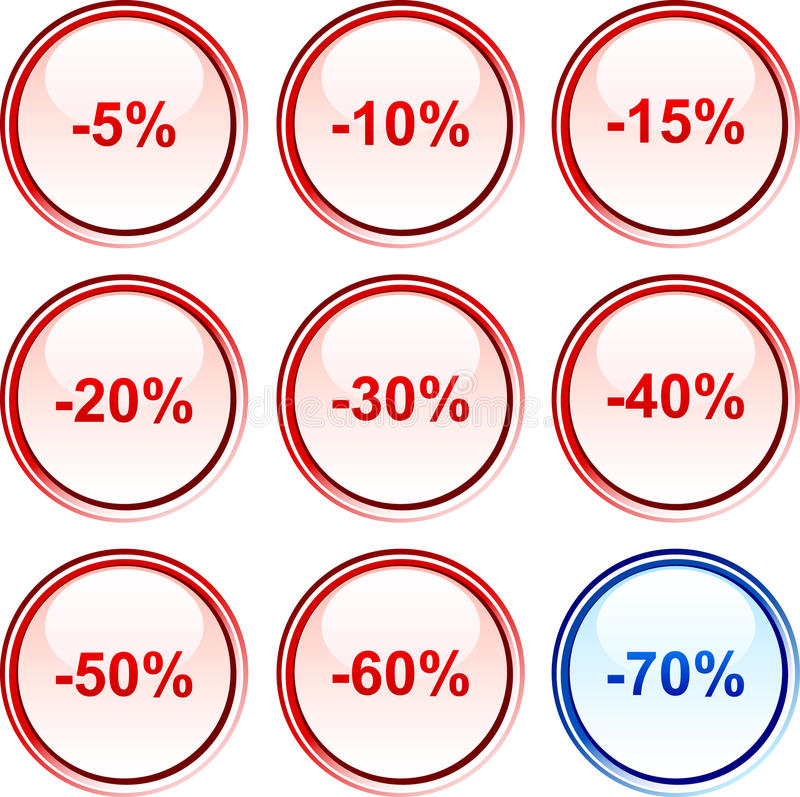Download Discount buttons. stock vector. Image of glossy, percent - 12283414