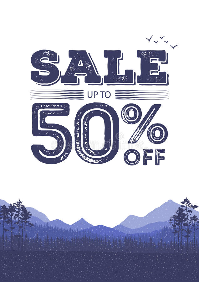 Discount colorful background. Abstract natural banner sales. The forest and mountains landscape flyer. Vector illustration royalty free illustration