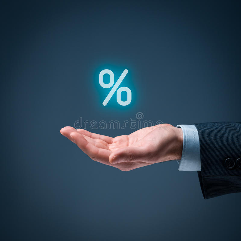 Discount and commission. Concept represented by percentage sign royalty free stock image