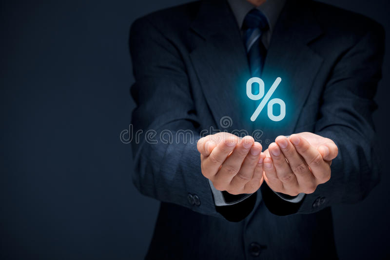 Discount and commission. Concept represented by percentage sign royalty free stock images