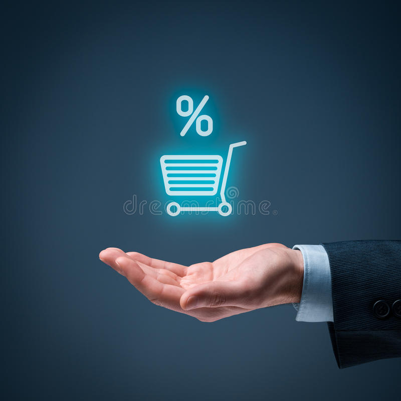 Discount and commission. In e-shop.Sale represented by percentage symbol royalty free stock images