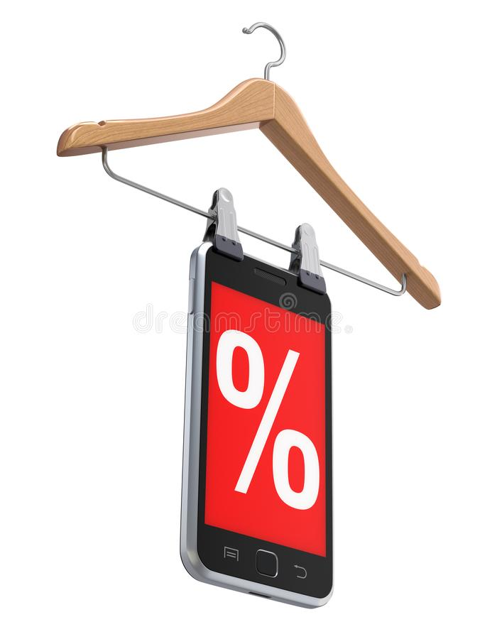 Discount concept with wooden hanger royalty free stock photo