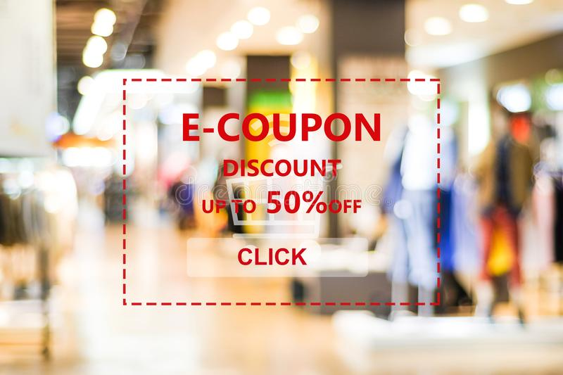 Discount coupon code on blur store background, web banner, shopping on line promotion, digital marketing, business and technology stock image