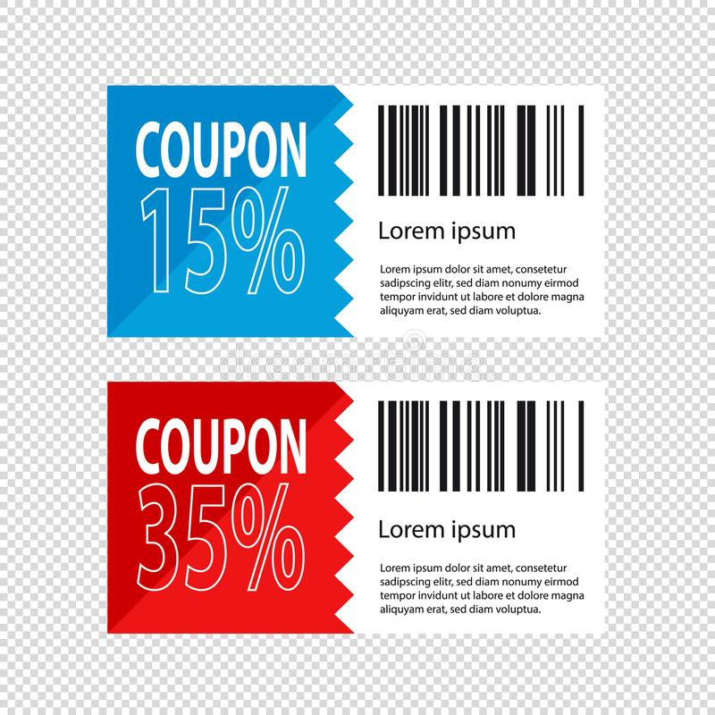 Discount Coupon Design - Shopping Concept - Vector Illustration - Isolated On Transparent Background royalty free illustration