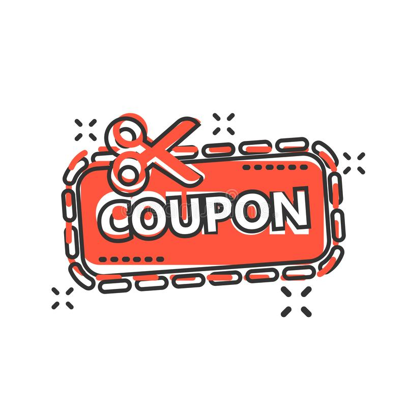 Discount coupon icon in comic style. Scissors with price tag vector cartoon illustration on white isolated background. Sale royalty free illustration