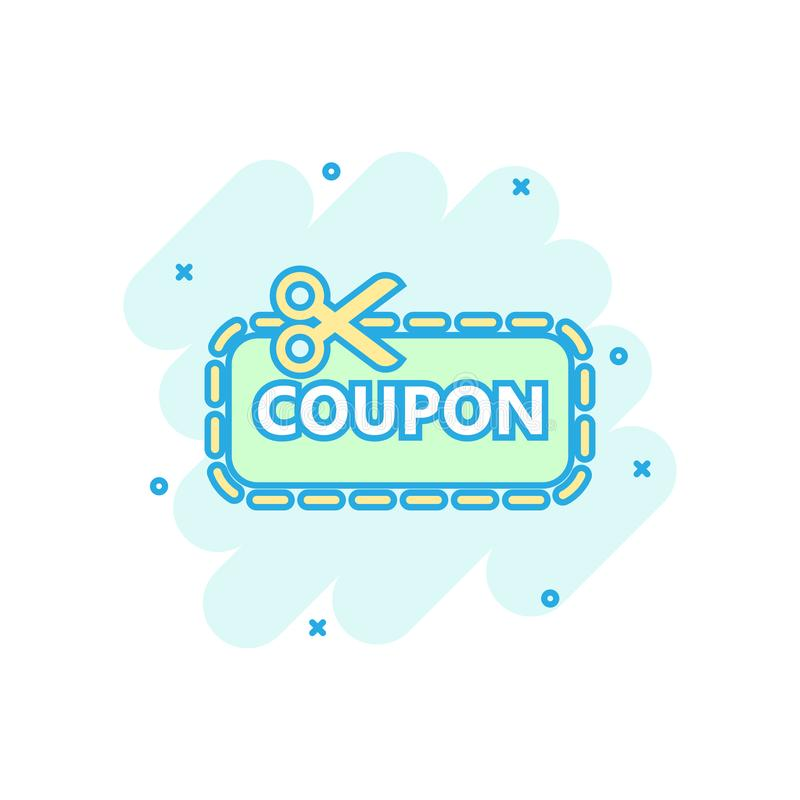 Discount coupon icon in comic style. Scissors with price tag vector cartoon illustration on white isolated background. Sale vector illustration