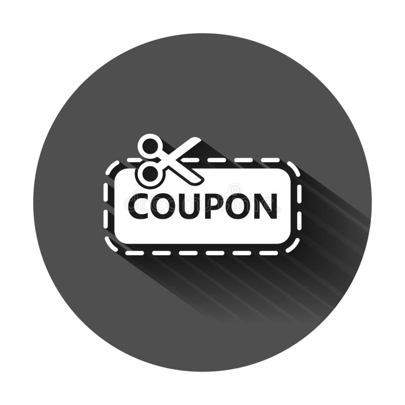 Discount coupon icon in flat style. Scissors with price tag vector illustration on black round background with long shadow. Sale stock illustration