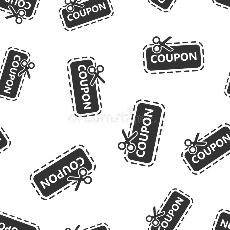 Discount coupon icon seamless pattern background. Scissors with price tag vector illustration on white isolated background. Sale stock illustration