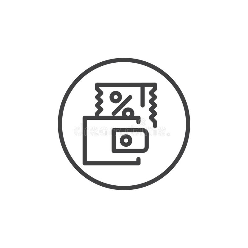 Discount coupon line icon stock illustration