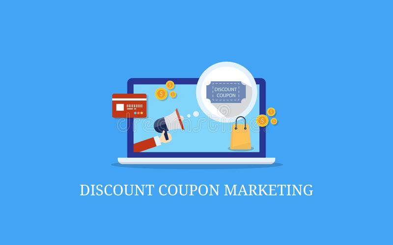 Discount coupon marketing, ecommerce product promotion, flat design vector banner concept. Modern concept of ecommerce website promotion, online coupon code royalty free illustration