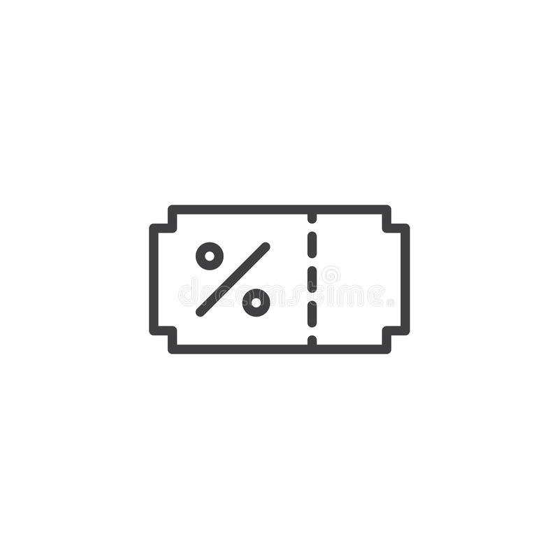 Discount Coupon outline icon stock illustration