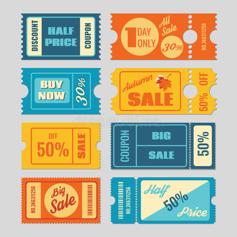 Discount coupon, sale tickets vector set royalty free illustration