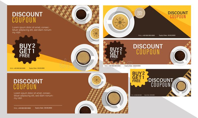 Discount coupon set for coffee cafe. royalty free illustration