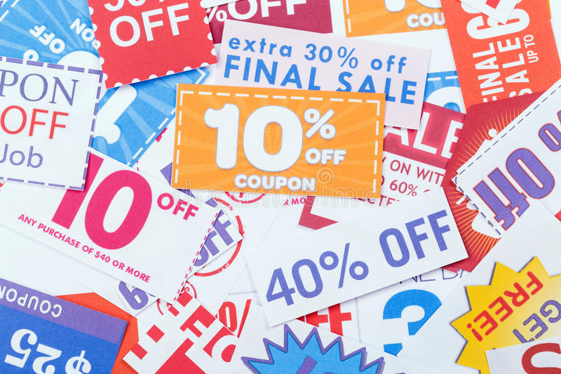 Discount coupons. Group of the Discount coupons stock photo