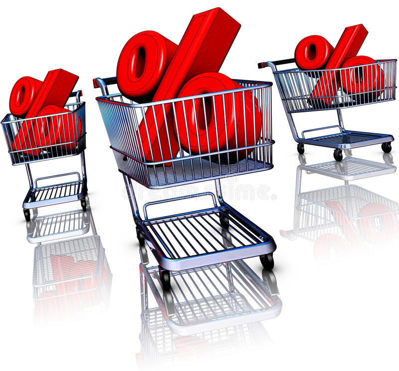 Discount. 3D rendering of an discount concept stock illustration