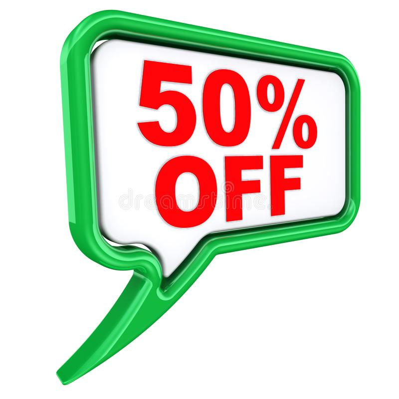 Discount of fifty percentage. One green speech bubble labeled 50%OFF fifty percentage discount isolated on white background. 3D Illustration royalty free illustration