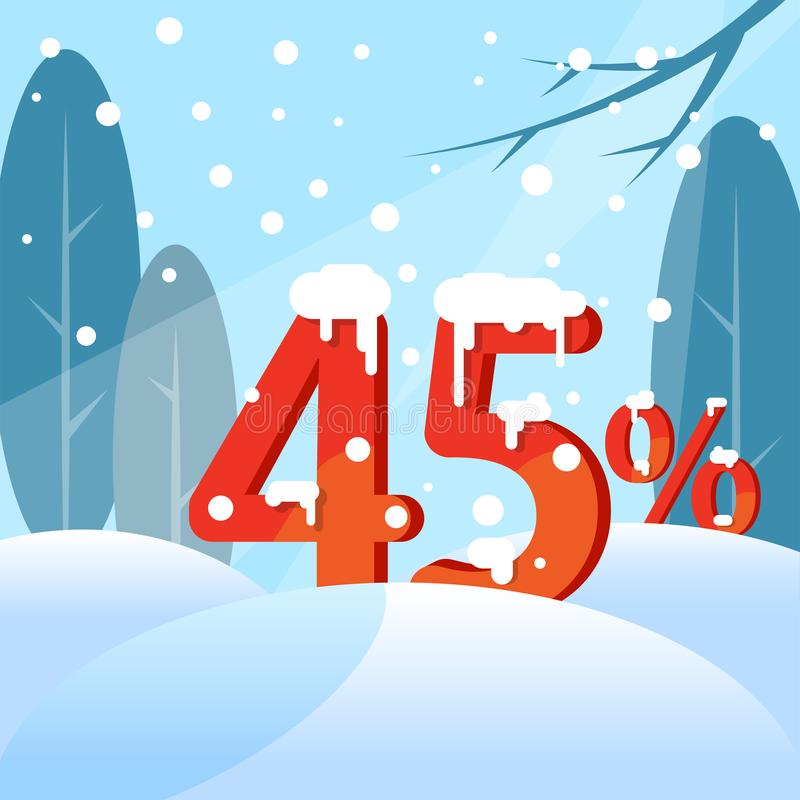 A discount Forty five percent. Figures in the snow vector illustration