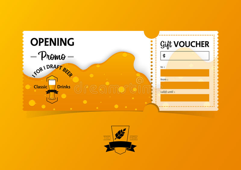 Discount gift vouchers template design for opening beer party. Special offer or certificate coupons. Vector. vector illustration