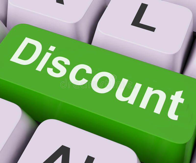 Discount Key Means Cut Price Or Reduce. Discount Key On Keyboard Meaning Rebate Cut Price Or Reduce stock illustration