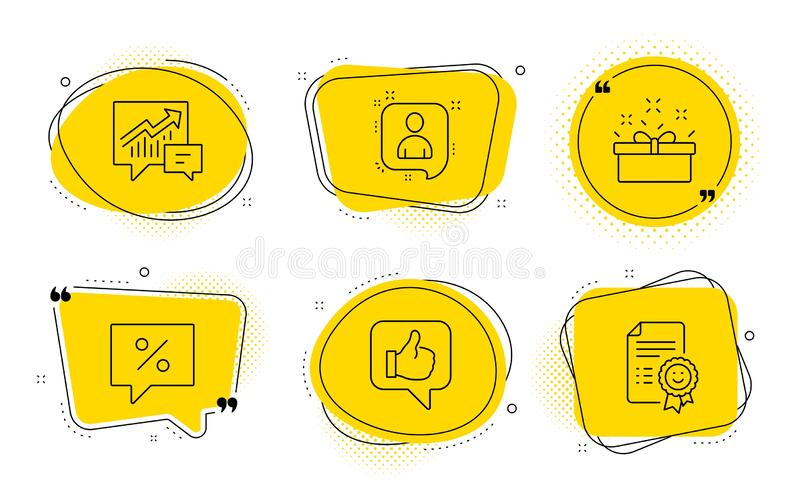 Present box, Developers chat and Like icons set. Discount message, Accounting and Smile signs. Vector. Discount message, Accounting and Smile signs. Chat bubbles vector illustration