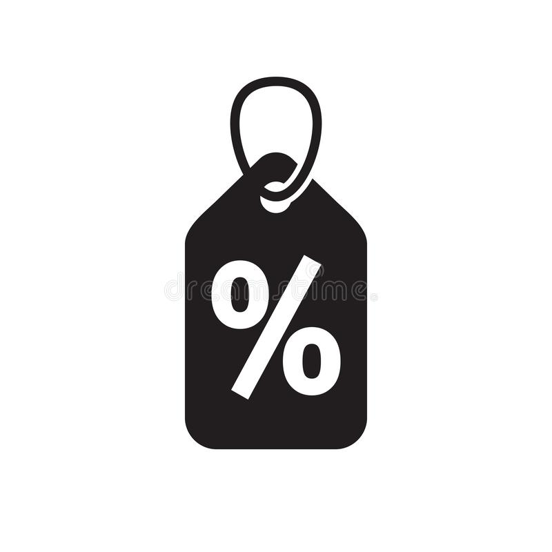 Discount offer percent tag - concept black icon design. Promotion sale label. Vector illustration. royalty free illustration