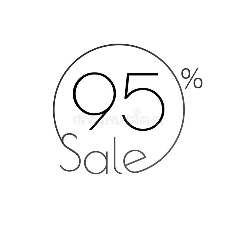 Discount offer price linear sticker or label, symbol for advertising campaign in retail, sale promo marketing, 95 percent. For art. Discount offer price linear royalty free illustration