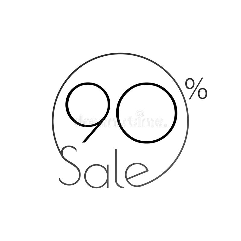 Discount offer price linear sticker or label, symbol for advertising campaign in retail, sale promo marketing, 90 percent. For art. Discount offer price linear stock illustration