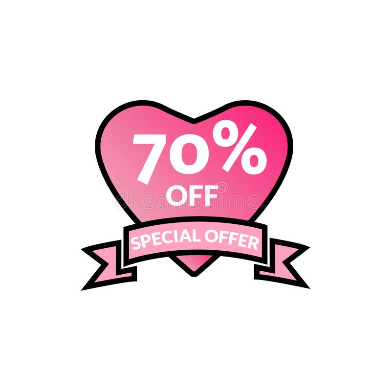 70% Discount Offer- discount promotion sale Brilliant poster, banner, ads. Valentine Day Sale, holiday discount tag, special offer royalty free illustration