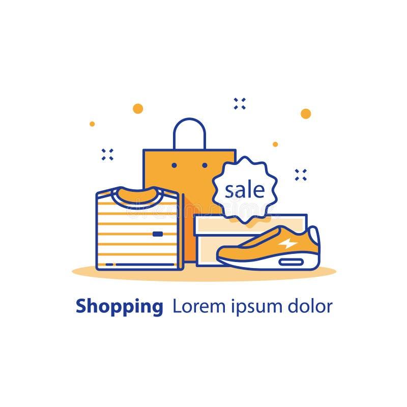 Discount, offerta speciale, annuncio di vendita del negozio, pubblicità e promozione, vestiti e scarpe illustrazione di stock