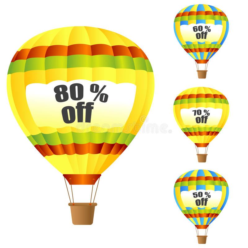 Discount parachute. Illustration of discount parachute on white background stock illustration