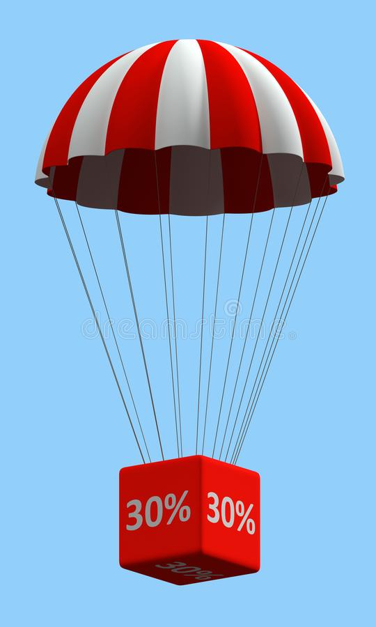 Discount Parachute Concept 30%. Sale concept showing parachute with a 30% sign. 3d illustration vector illustration