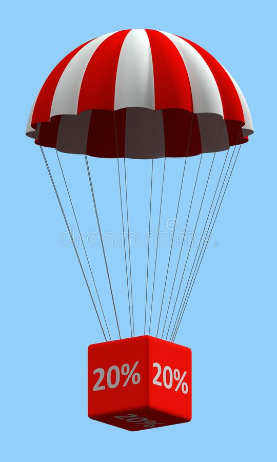 Discount Parachute Concept 20%. Sale concept showing parachute with a 20% sign. 3d illustration on white background royalty free illustration