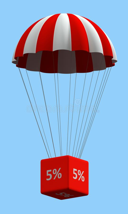 Discount Parachute Concept 5%. Sale concept showing parachute with a 5% sign. 3d illustration stock illustration