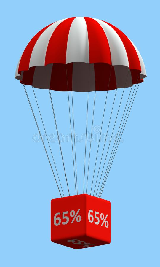 Discount Parachute Concept 65%. Sale concept showing parachute with a 65% sign. 3d illustration stock illustration