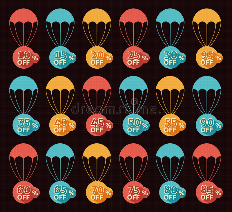Discount parachute set. On black background stock illustration