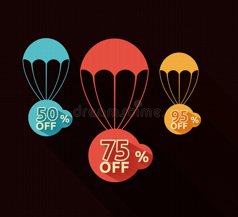 Discount parachute set. On black background royalty free illustration
