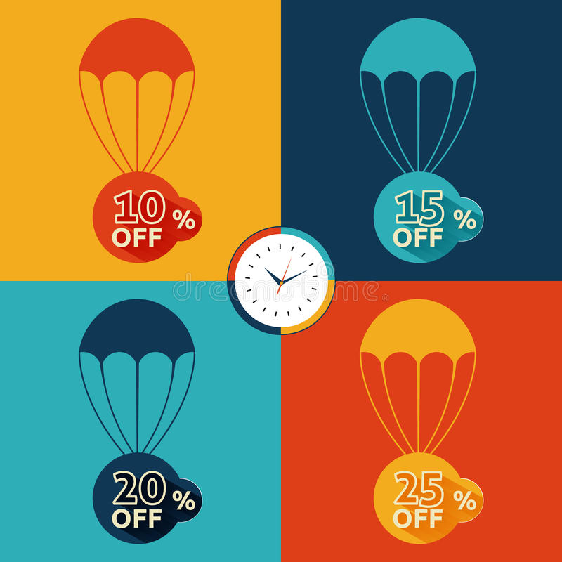 Discount parachute set. On multicolor backgrounds royalty free illustration