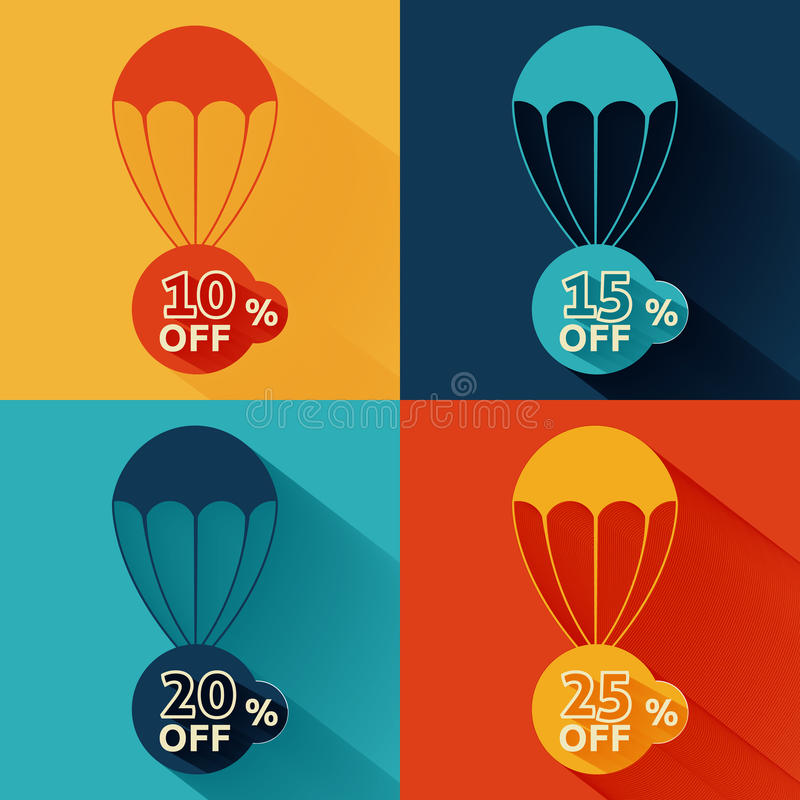 Discount parachute set. On multicolor backgrounds vector illustration