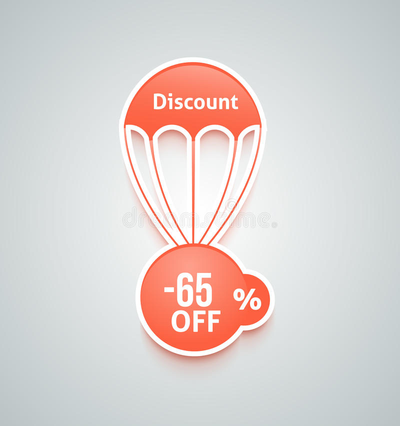 Discount parachute set. Set of paper red parachutes with discount text on retro style background vector illustration