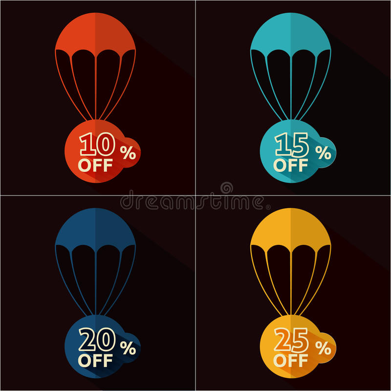 Discount parachute set. Set of parachutes with discount on black background vector illustration