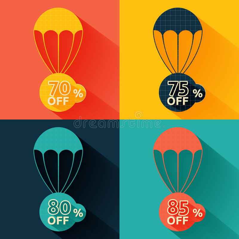Discount parachute set. Set of parachutes with discount on multicolor background vector illustration