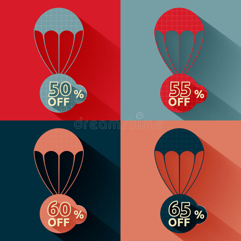 Discount parachute set. Set of parachutes with discount on multicolor background stock illustration