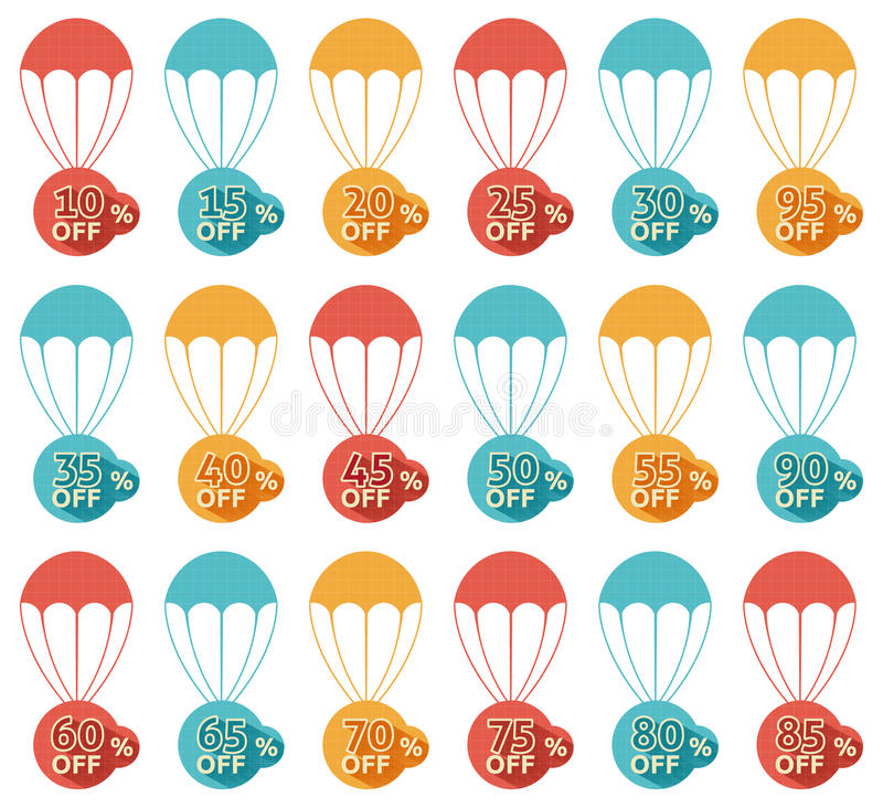 Discount parachute set. On white background stock illustration