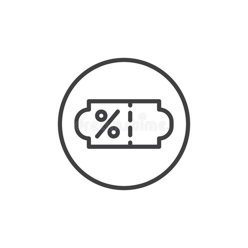 Discount percent coupon line icon vector illustration