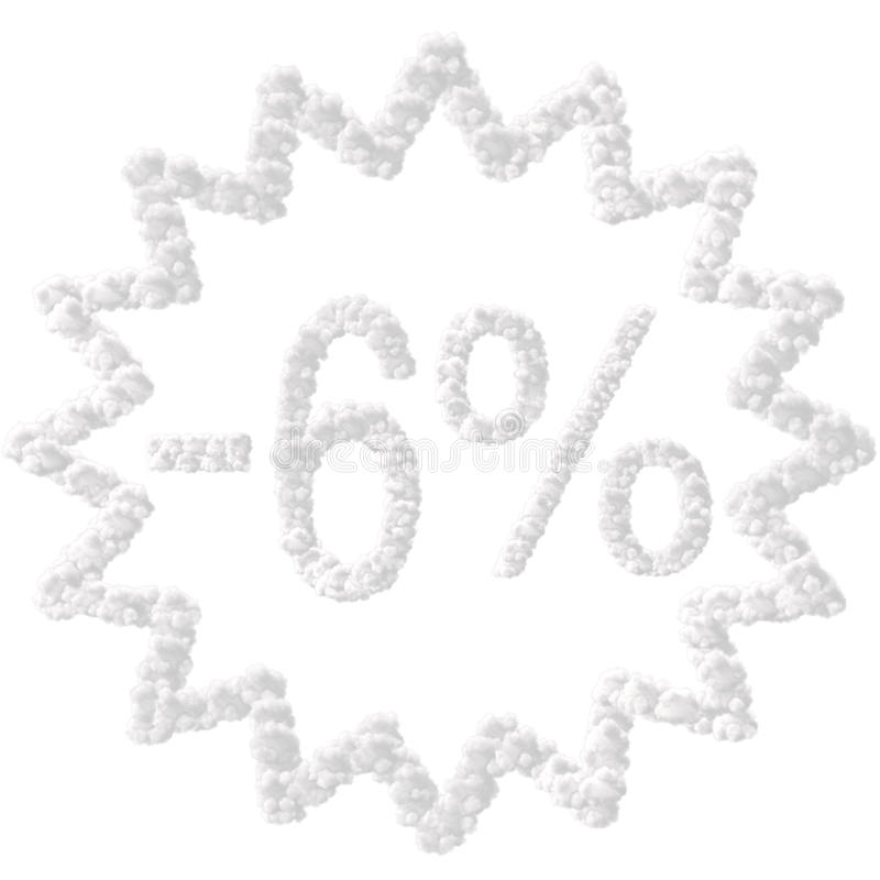 Discount - 6 percent. Made from clouds on white background stock images